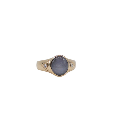 Round Star Sapphire Yellow Gold Ring - Silverscape Designs