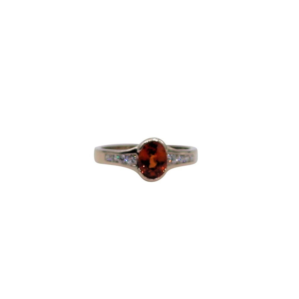 Oval Garnet and Diamond White Gold Ring - Silverscape Designs