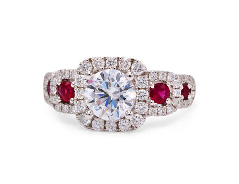Frederic Sage Ruby and .69 Total Carat Weight Diamond Halo 14k White Gold Ring