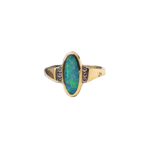 Kabana Opal Inlay .12 TCW Diamond 18k Yellow Gold Ring