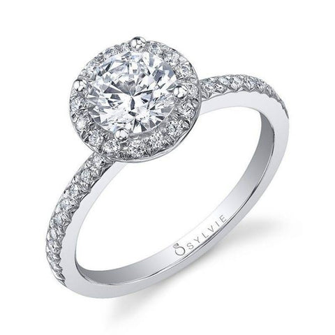 Round Diamond Halo White Gold Engagement Ring - Silverscape Designs