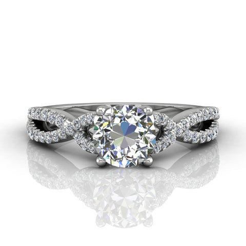 Twisted Engagement Ring White Gold