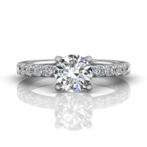 Half Round Engagement Ring White Gold