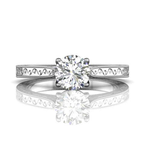 Vintage Inspired Engagement Ring White Gold