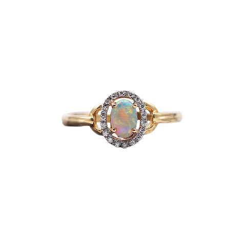Roger Pearman .48 carat Black Opal and .07 TCW Diamond 14k Yellow Gold Ring