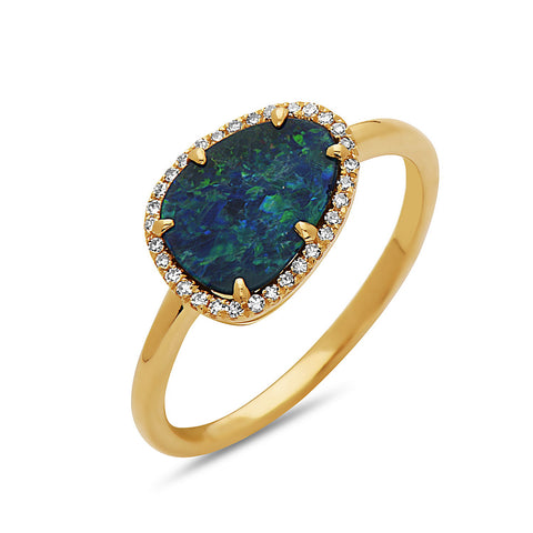 Black Opal and Diamond Halo Yellow Gold Ring