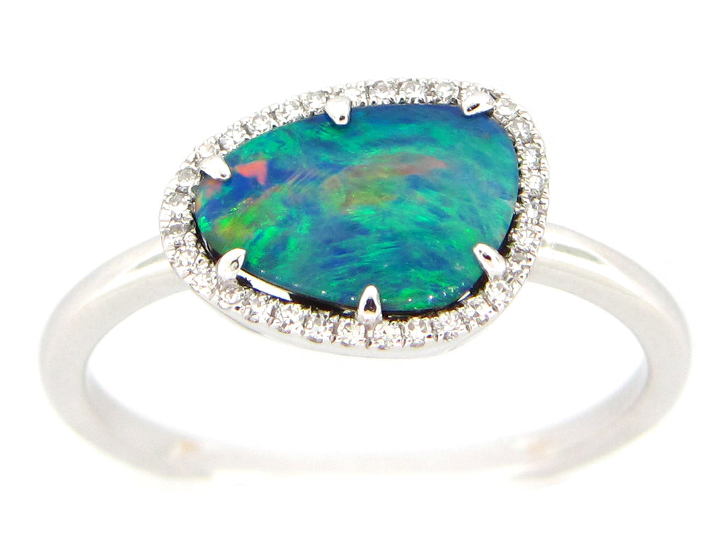 Black Opal and Diamond Halo White Gold Ring