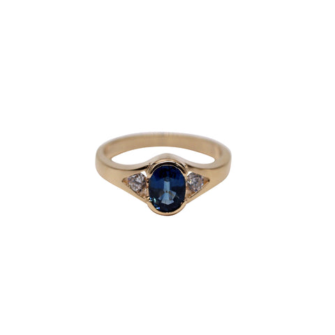 Deep Blue Sapphire and Diamond Yellow Gold Ring