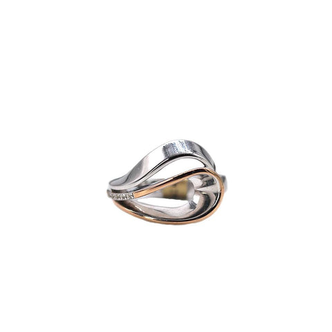 Breuning Sterling Silver and White Sapphire Loop Ring