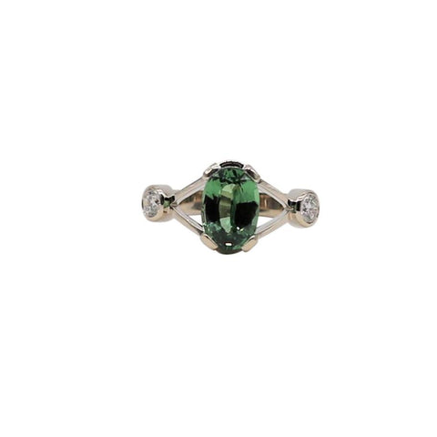 Tsavorite Garnet and Diamond White Gold Ring - Silverscape Designs