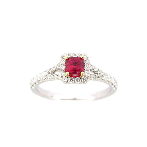 Ruby & Diamond Halo Ring in White Gold - Silverscape Designs