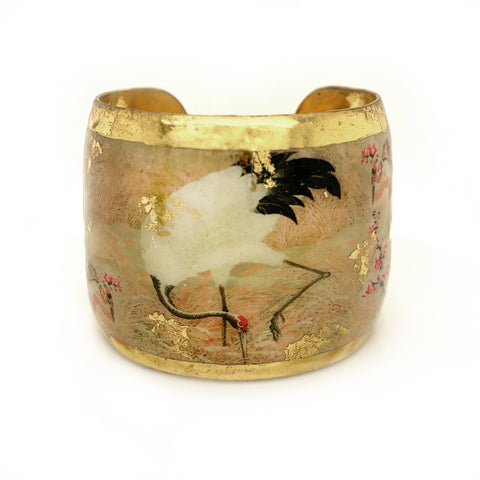 Red Crowned Crane 22k Gold Leaf Bracelet - Silverscape Designs