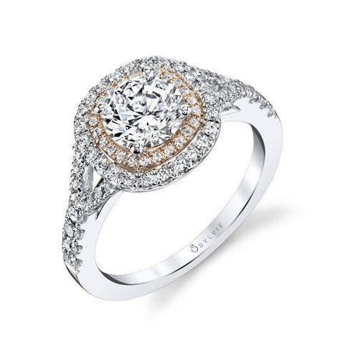 Cushion Shaped Double Halo Engagement Ring with Two-Tone Accents - Silverscape Designs