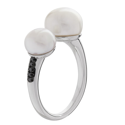 Honora Pearl and Black Diamond Sterling Silver Ring