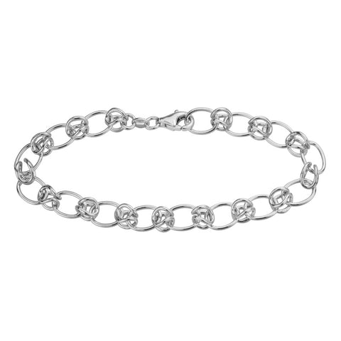 Sterling Silver Bubble and Oval Link Bracelet - Silverscape Designs