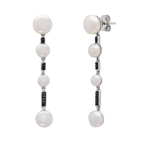 Honora Pearl and Black Diamond Sterling Silver Drop Earrings