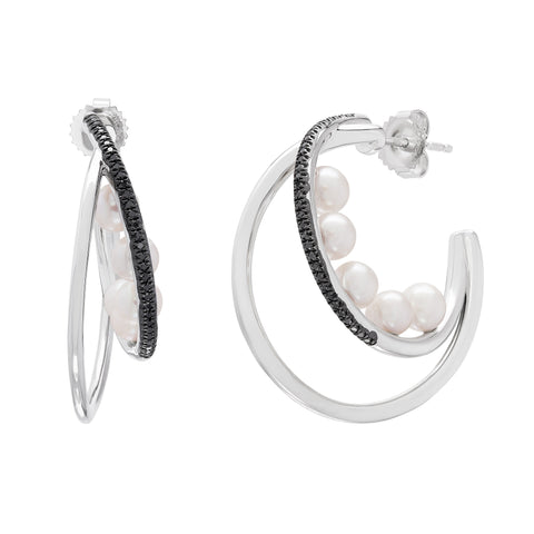 Honora Pearl and Black Diamond Sterling Silver Hoops
