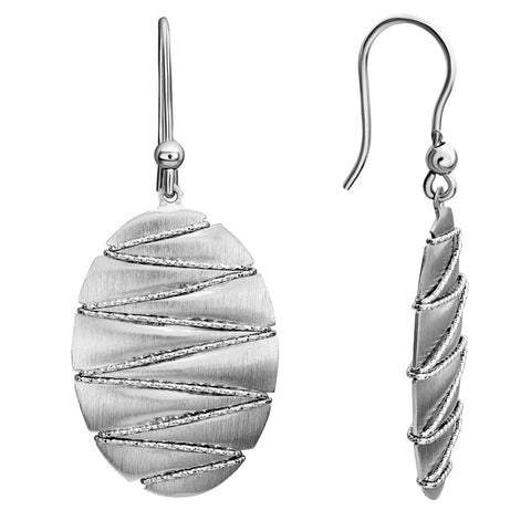 Sterling Silver Oval Zig Zag Dangle Earrings - Silverscape Designs