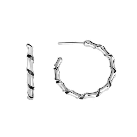 Sterling Silver Small Ribbon Hoop Earrings - Silverscape Designs