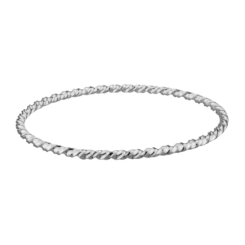 Sterling Silver Solid Twist Bangle Bracelet - Silverscape Designs