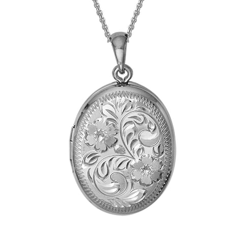 Sterling Silver Engraved Oval Locket - Silverscape Designs
