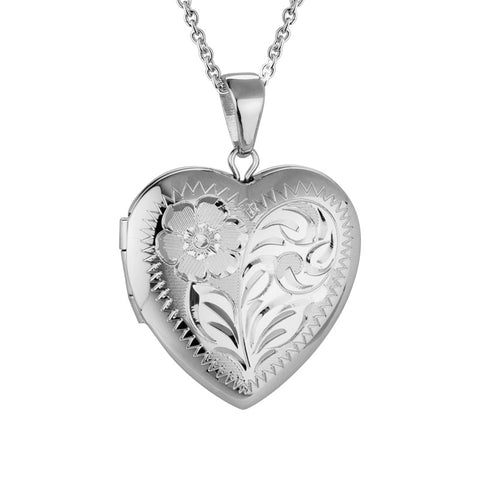Sterling Silver Engraved Heart Locket - Silverscape Designs