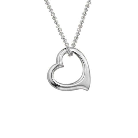 Sterling Silver Floating Heart Necklace - Silverscape Designs
