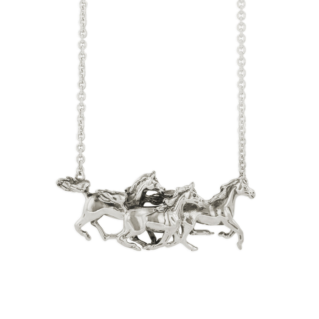 Sterling Silver 3 Horse Necklace