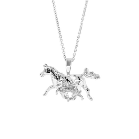 Sterling Silver Horse & Colt Necklace by Kabana