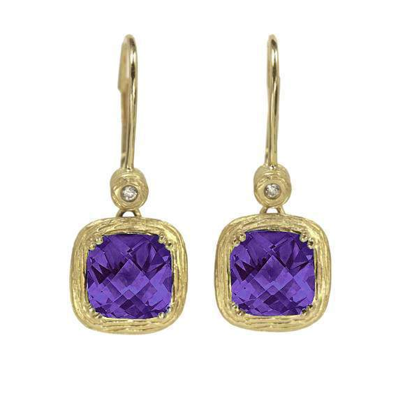Yellow Gold Amethyst and Diamond Leverbacks