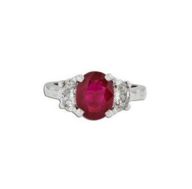 Burmese Ruby & Half Moon Diamond Ring