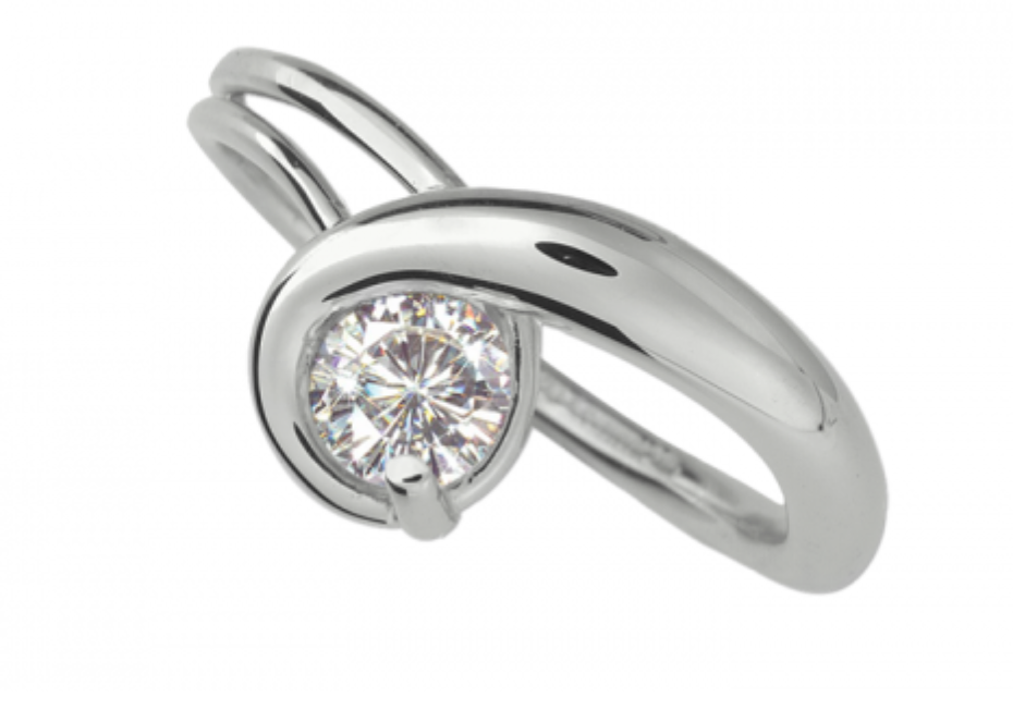 Ed Levin Sterling Silver Gem Elegance Ring with Moissanite
