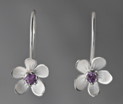 Sterling Silver Apple Blossom Amethyst Earrings