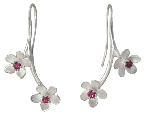 Sterling Silver Double Mini Apple Blossom Earrings - Silverscape Designs