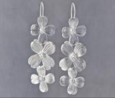 Sterling Silver Triple Dogwood Earrings