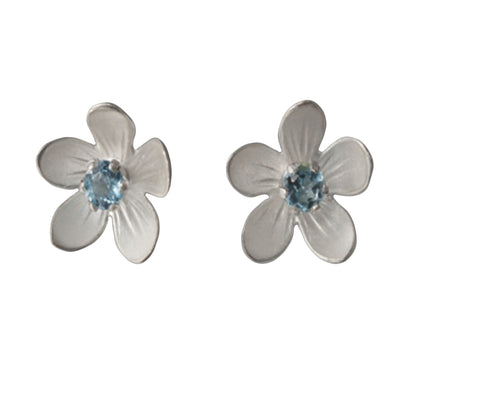 Sterling Silver Blue Topaz Apple Blossom Stud Earrings by EAM