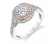 Halo Two-Toned Engagement Ring - Silverscape Designs