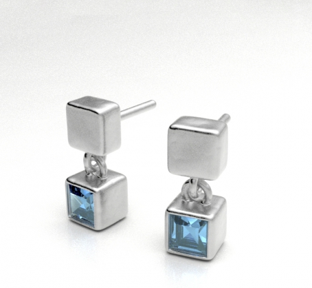 Cube Drop with Blue Topaz