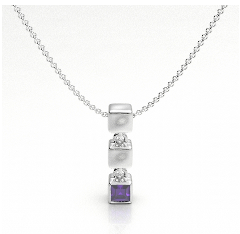 Cube Drop with Amethyst Necklace