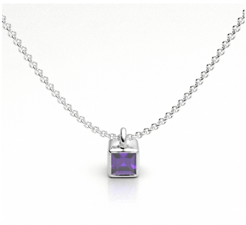 Cube Drop Necklace with Amethyst