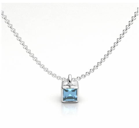 Cube Drop Necklace with Blue Topaz