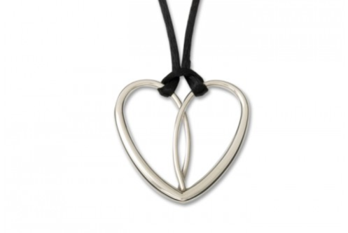 Heart Necklace on Silk Black Cord
