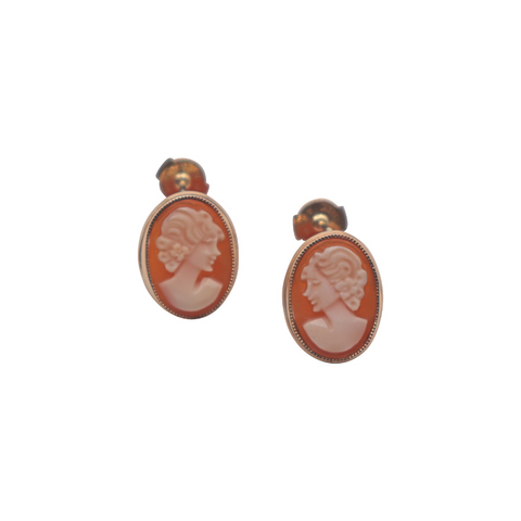 Vintage Shell Cameo Stud Earrings