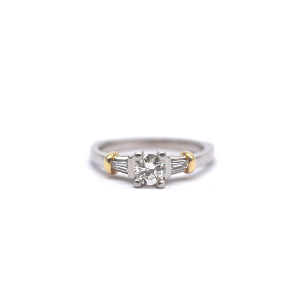 Two Tone Classic Solitaire With Baguette Sides Vintage Engagement Ring - Silverscape Designs