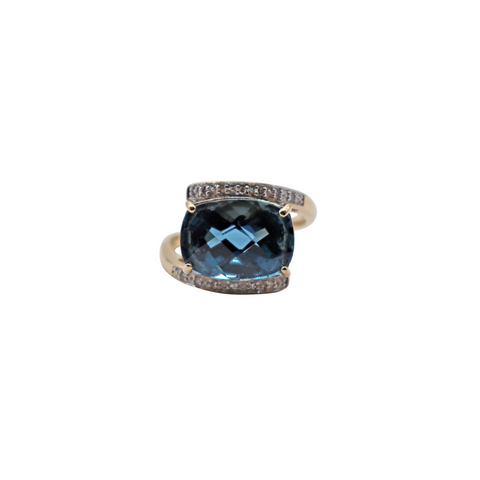 Estate London Blue Topaz Bypass Ring - Silverscape Designs