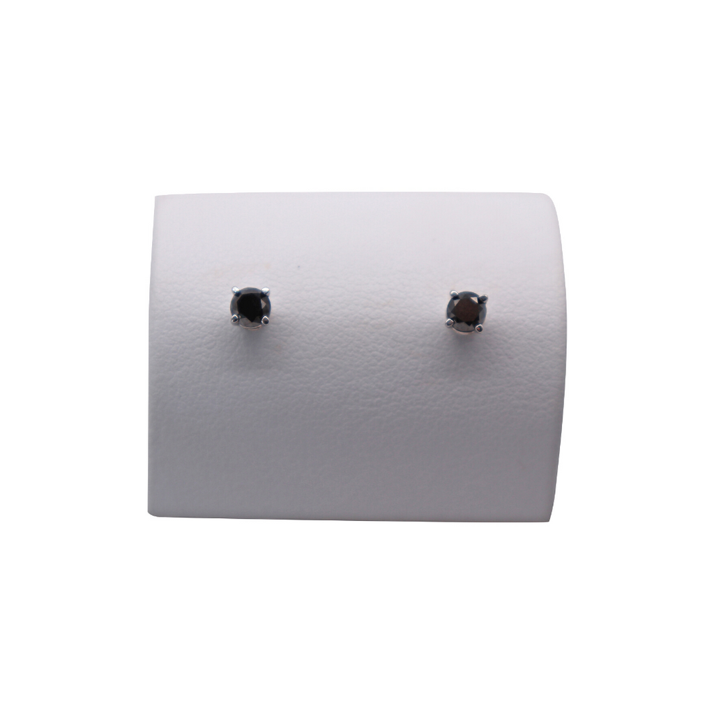 Estate Black Diamond Studs in 14 Karat White Gold - Silverscape Designs