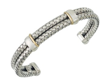 Gents Gold Accent Cuff, Sterling Silver
