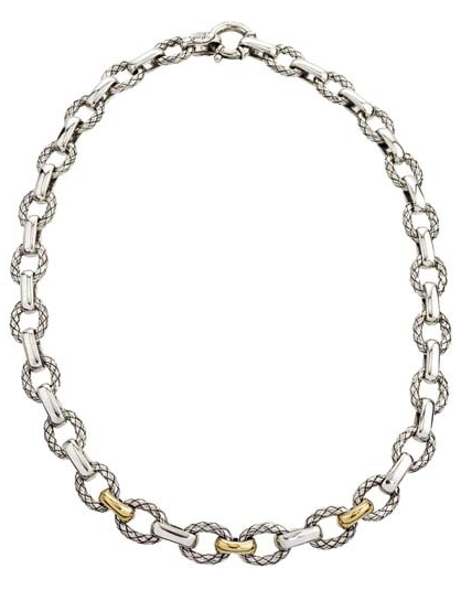 Alisa Jewelry Oval Link Necklace, Two Toned 18k/SS
