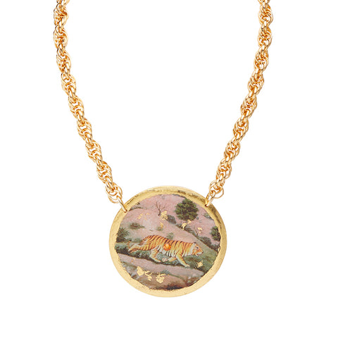 Evocateur Jaipur Tiger Disc Necklace - Silverscape Designs