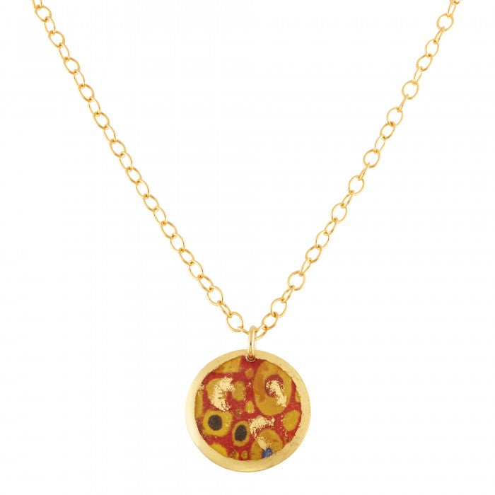 Evocatuer Vienna Red and Gold Large Disc Necklace - Silverscape Designs